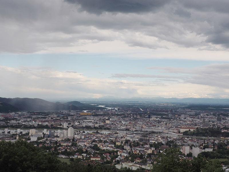 Linz von oben Ausblick