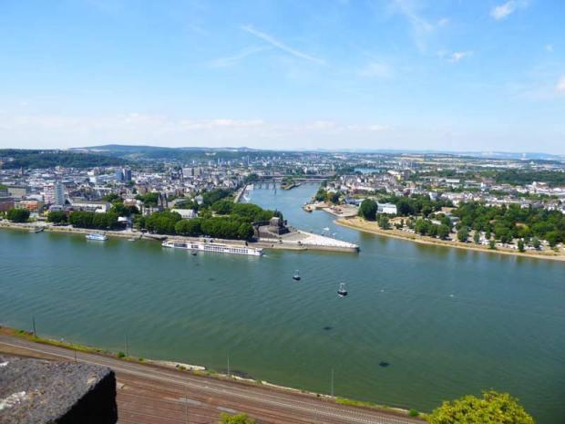 Koblenz Deutsches Eck Ausblick Ehrenbreitstein